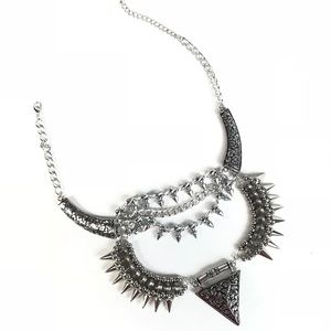 Jewelry - Statement Necklace Spiked Steam Punk Silver Tone